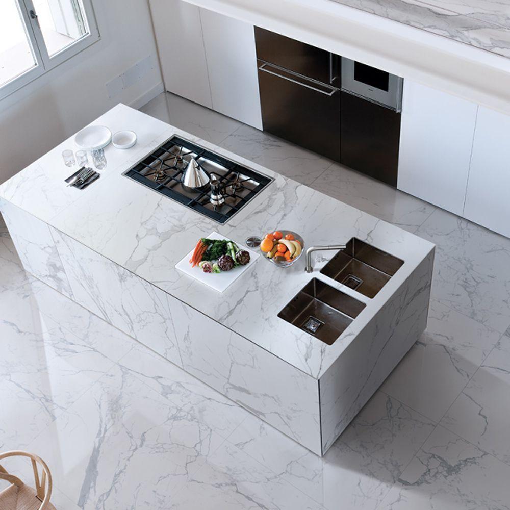 Enlever Carrelage Plan De Travail Cuisine plan de travail en grès cérame / de cuisine / blanc / gris