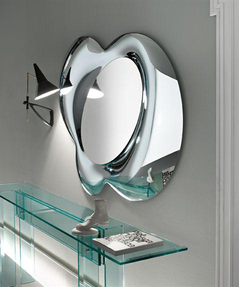 Miroir mural / suspendu / contemporain / argenté - LUCY by ...