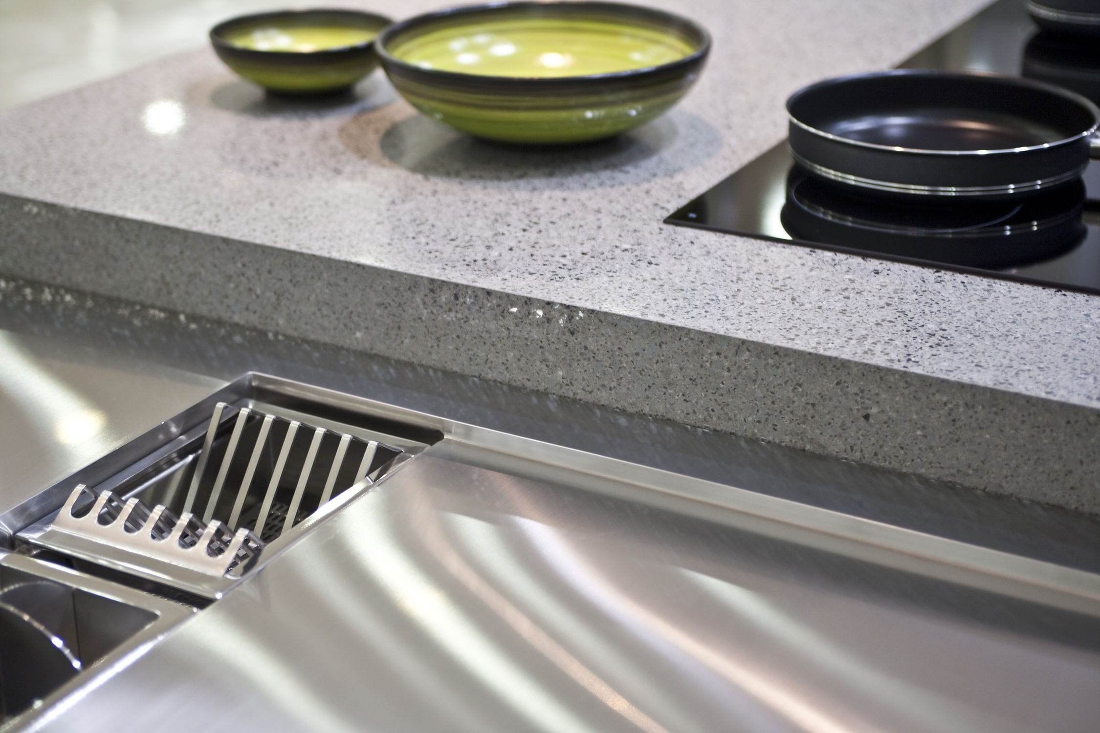 Plan De Travail Chrome plan de travail en silestone® / de cuisine / blanc / gris