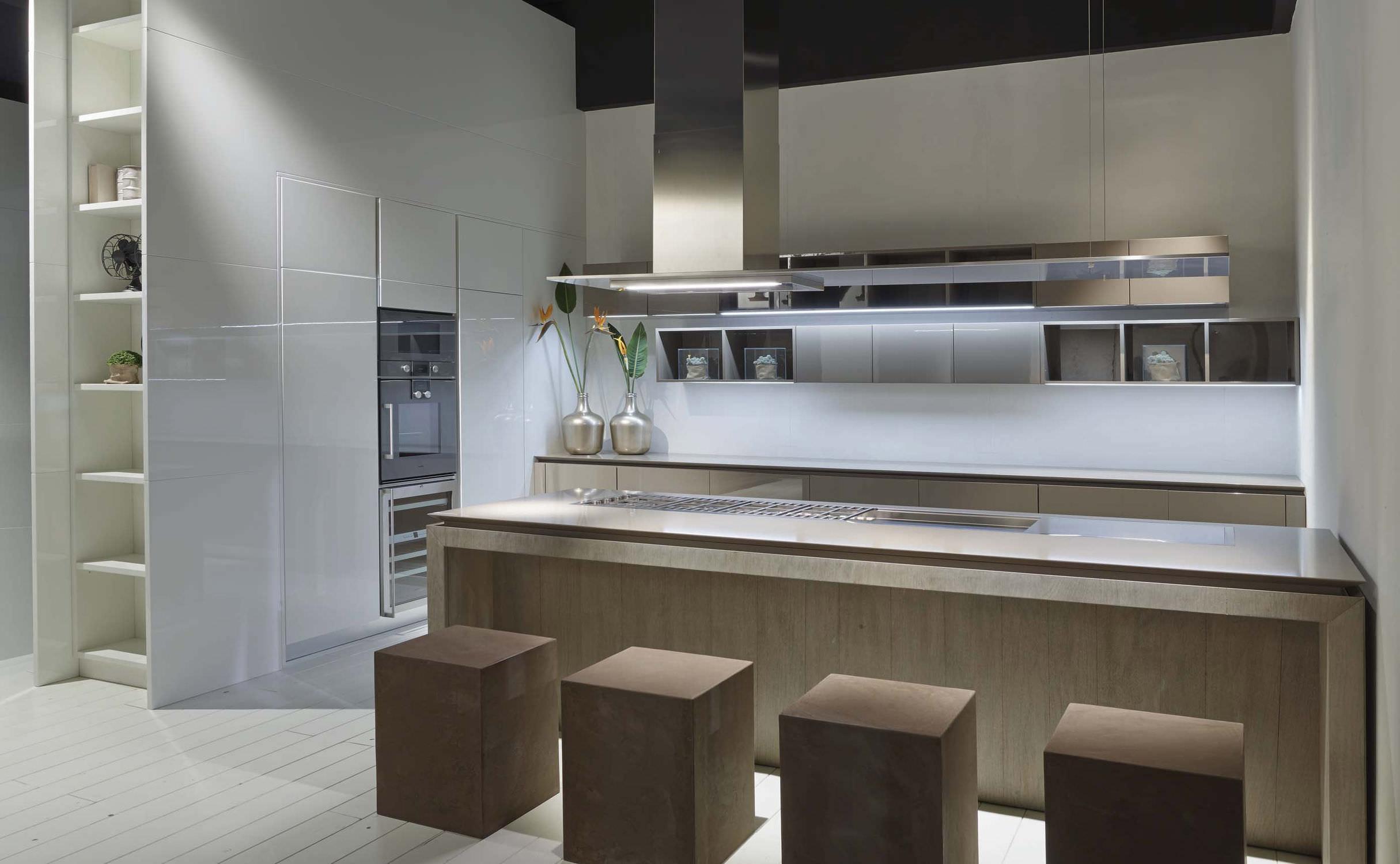 en contemporaine laquée bois Cuisine avec plaqué îlot yNOvn80wPm