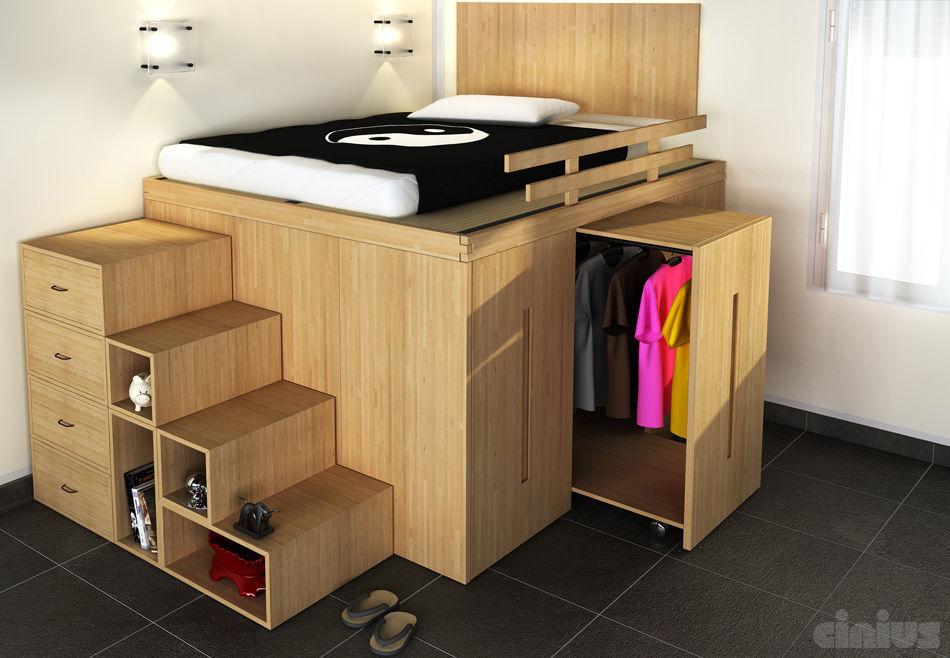 Incroyable Lit double / contemporain / avec rangement intégré / en bois RM-93