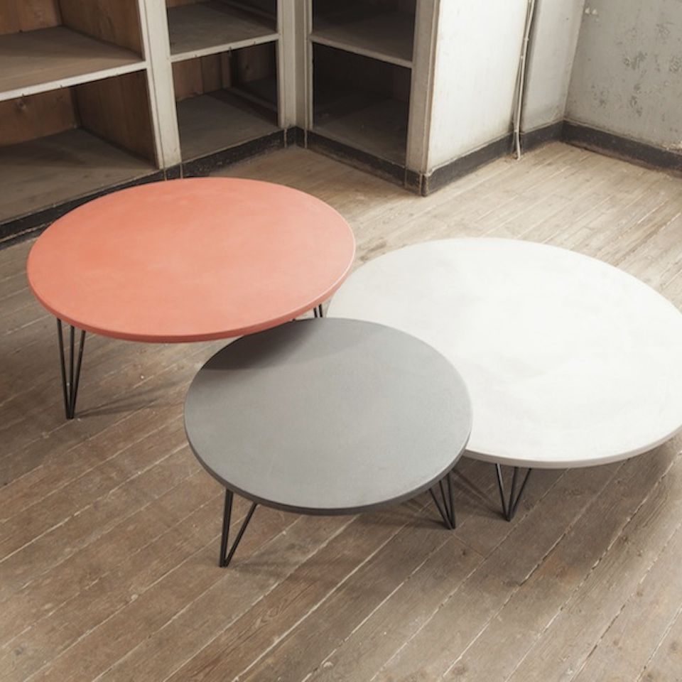 Table Basse Contemporaine En Beton Ronde Blanche Trio Triss