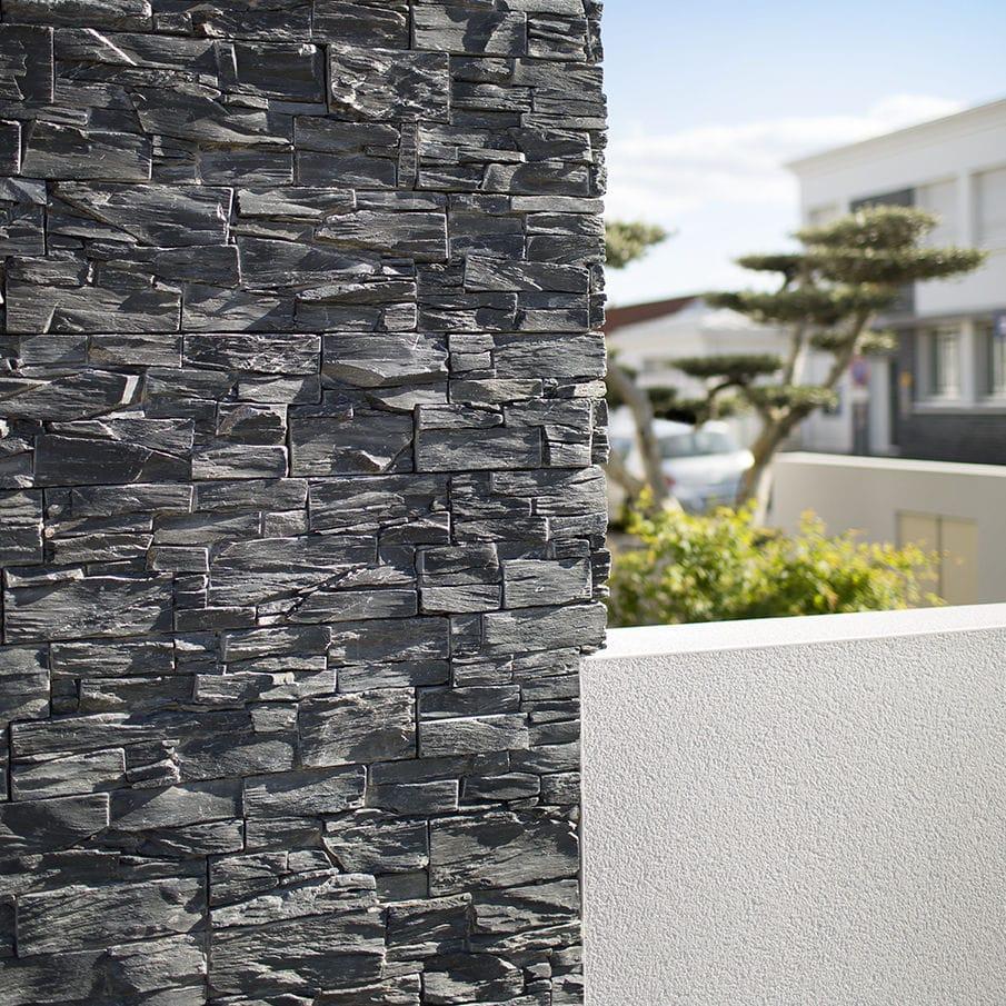 Mur Parement Interieur Ardoise plaquette de parement en ardoise / intérieure / extérieure / décorative  black slate cupa stone