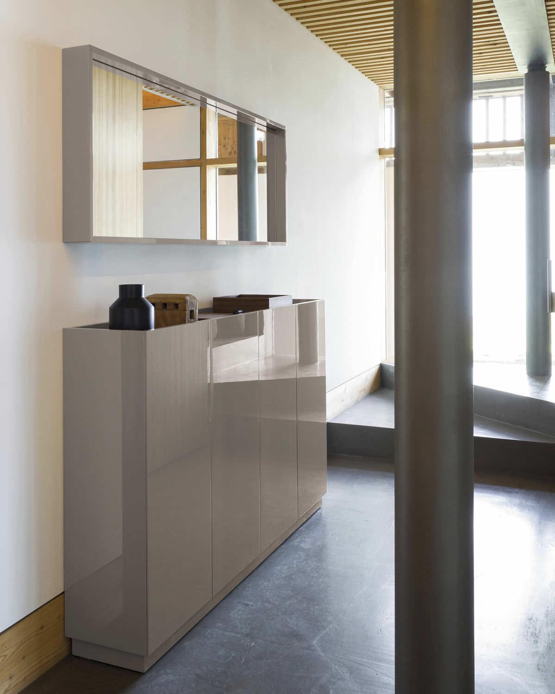 Grand Miroir D Entrée meuble d'entrée contemporain / mural / en bois massif / avec miroir