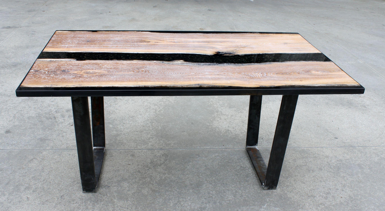 En Bois Résine Contemporaine Black Époxy Basse Table OPTuwkiZX