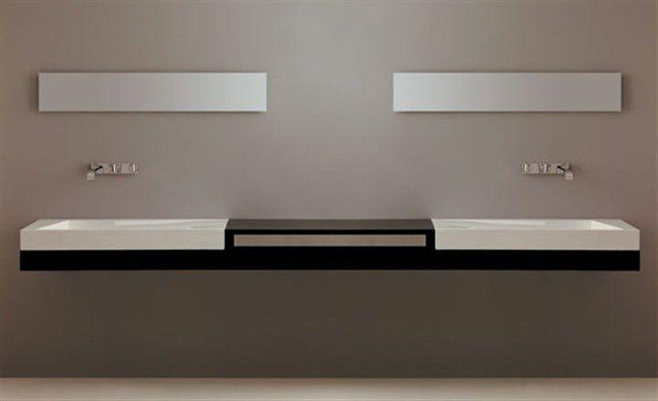Plan vasque double / en chêne - DX - SX 245 - GSG Ceramic Design