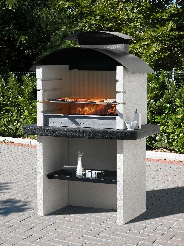 Barbecue à charbon / à bois / fixe / en pierre reconstituée ...