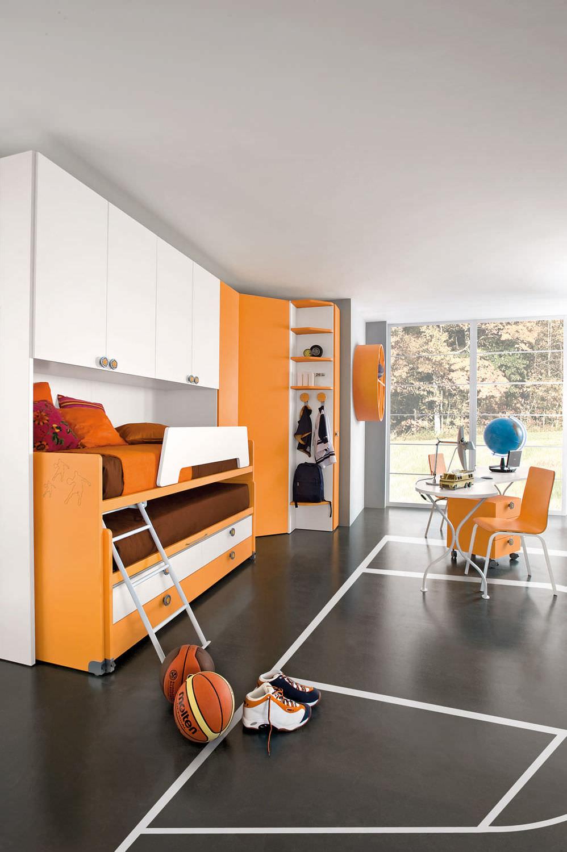 Chambre d\'enfant orange / mixte - SPORT - BASKET 3 - Faer ...