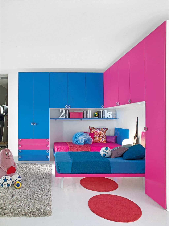 Chambre d\'enfant rose / mixte - SPORT - ROLLER 1 + CALCIO 9 ...