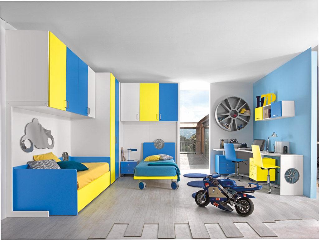 Chambre d\'enfant jaune / mixte - SPORT - MOTORI 1 - Faer Ambienti