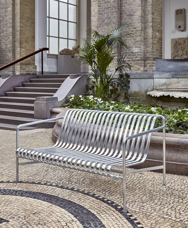 Banc de jardin / contemporain / en acier galvanisé / avec dossier PALISSADE  Hay a/s