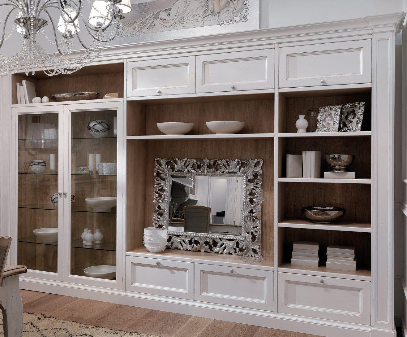 Ensemble mural de salon classique / en bois laqué / en verre ...