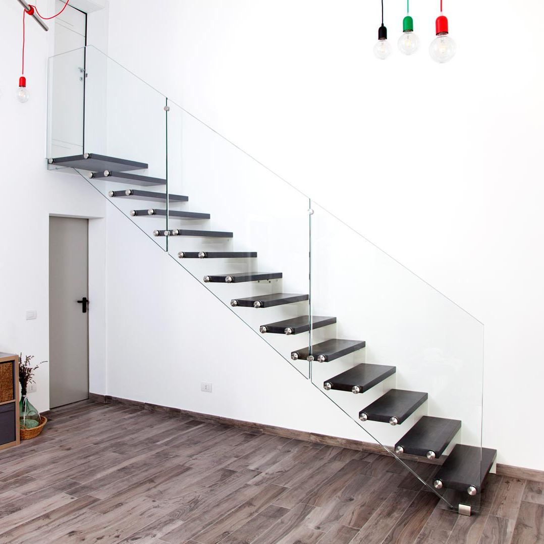 Rampe D Escalier Traduction Anglais escalier droit / structure en acier / marche en bois / sans