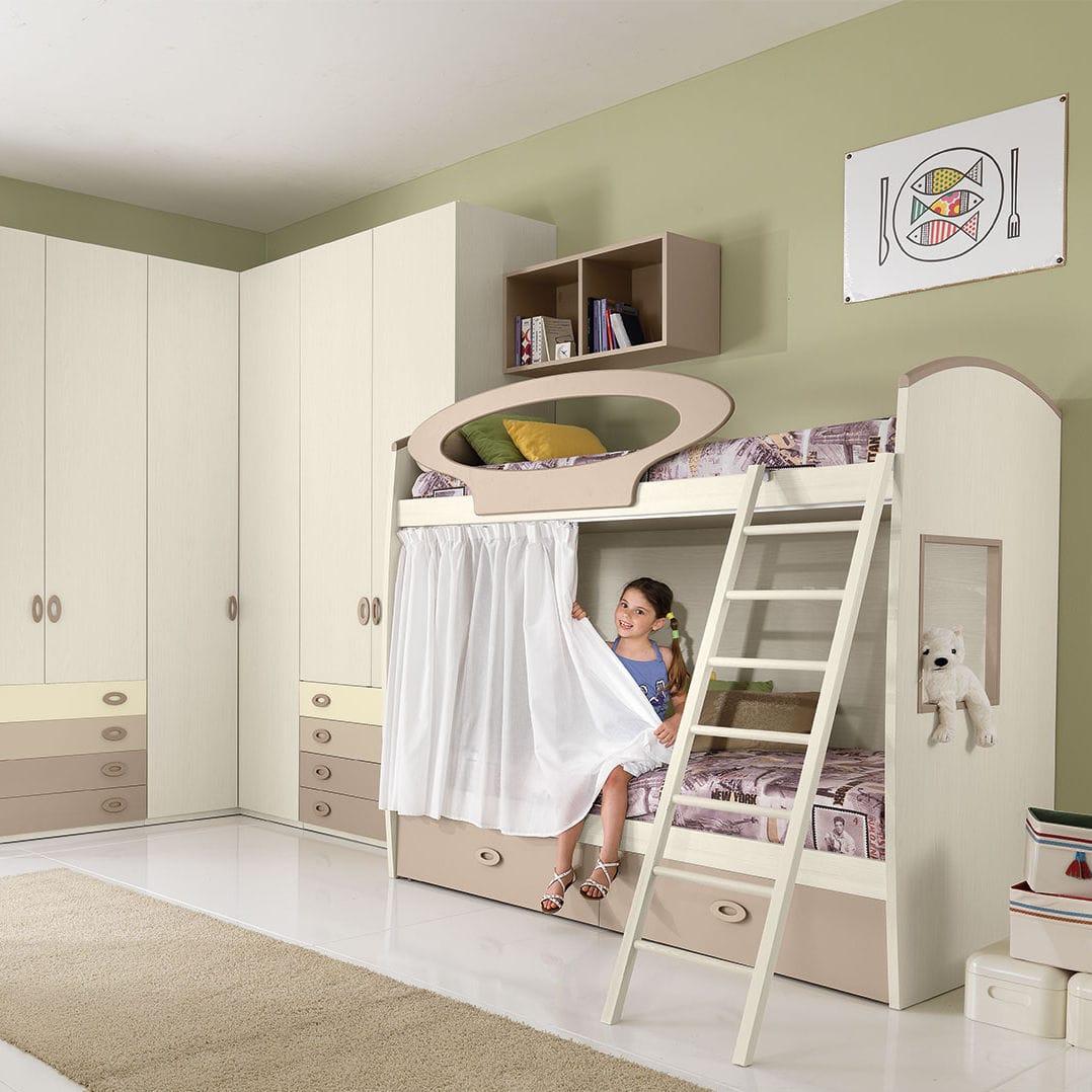 Chambre Blanche Et Bois chambre d'enfant blanche / en bois / mixte - cm08 - giessegi