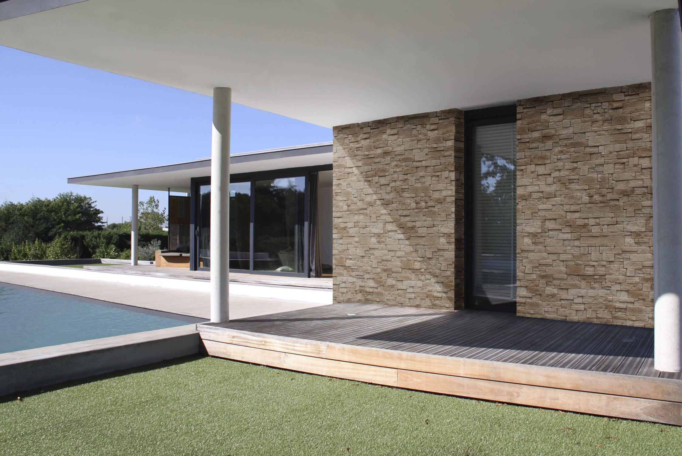 Mur En Parement Salon plaquette de parement en pierre / extérieure / aspect pierre