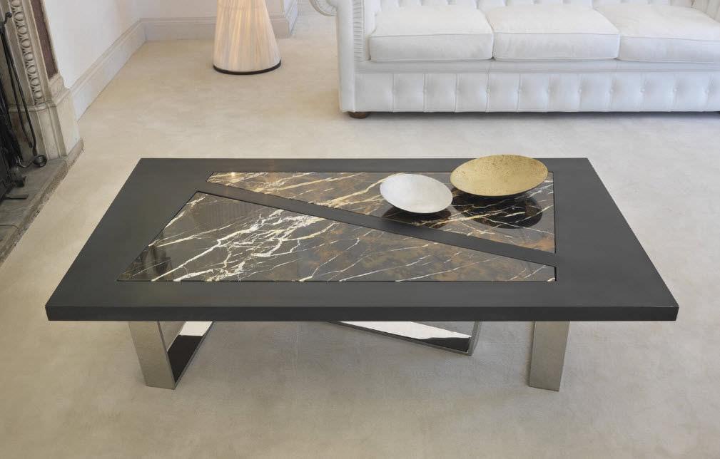 Table Rectangulaire Basse En Carrée Contemporaine Marbre 2WDHE9I