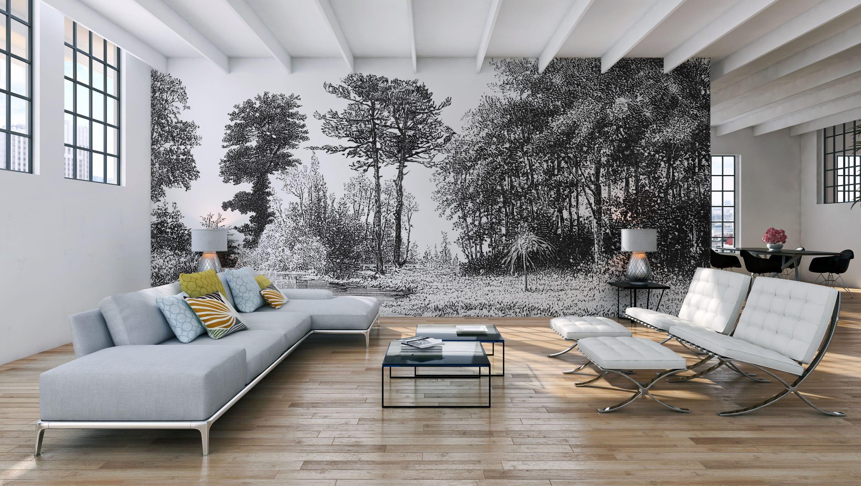 Papier Peint Style Atelier papier peint contemporain / à motif nature - d239 gravure