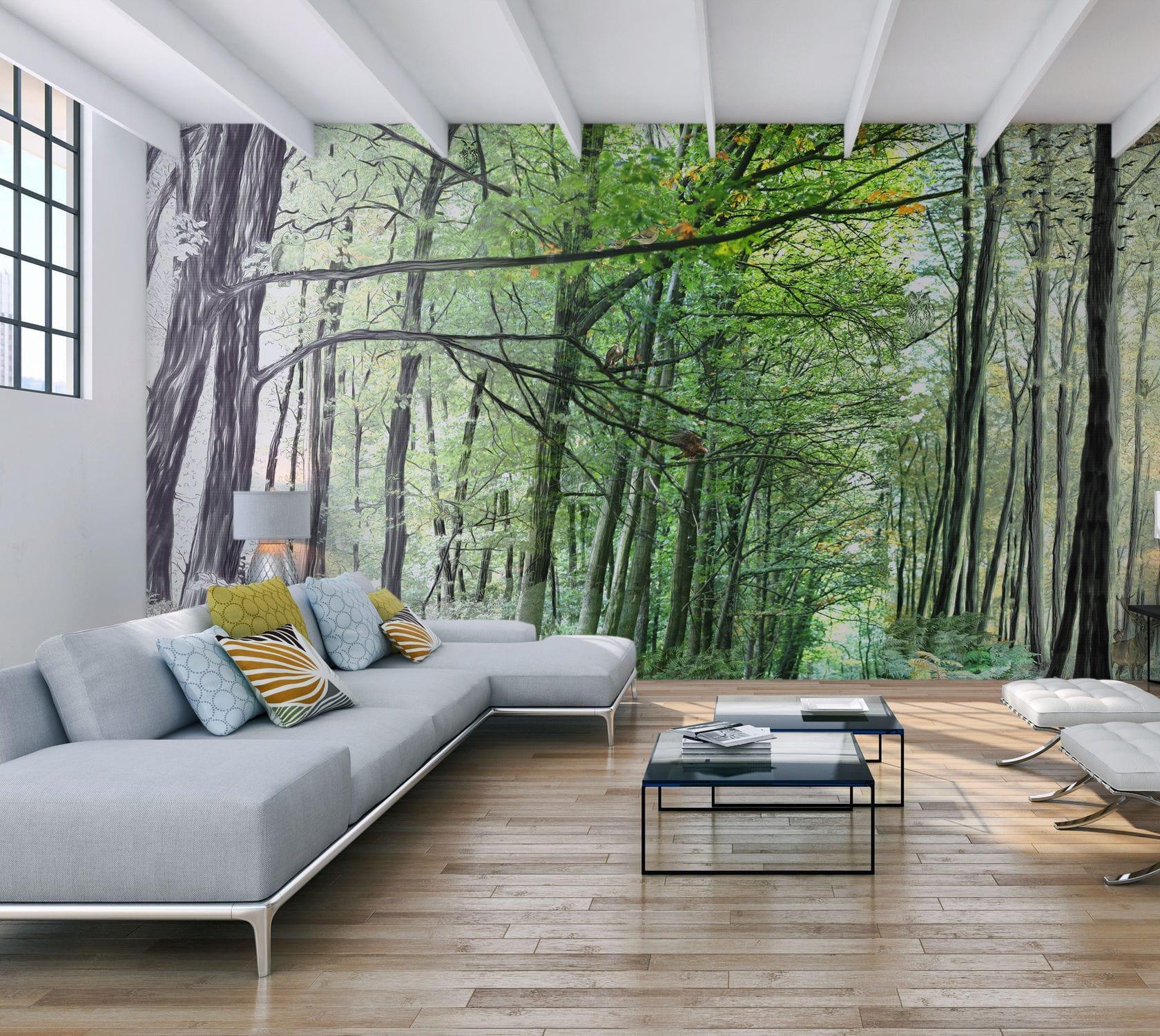 Papier Peint Motif Nature papier peint contemporain / à motif nature - forÊt wild