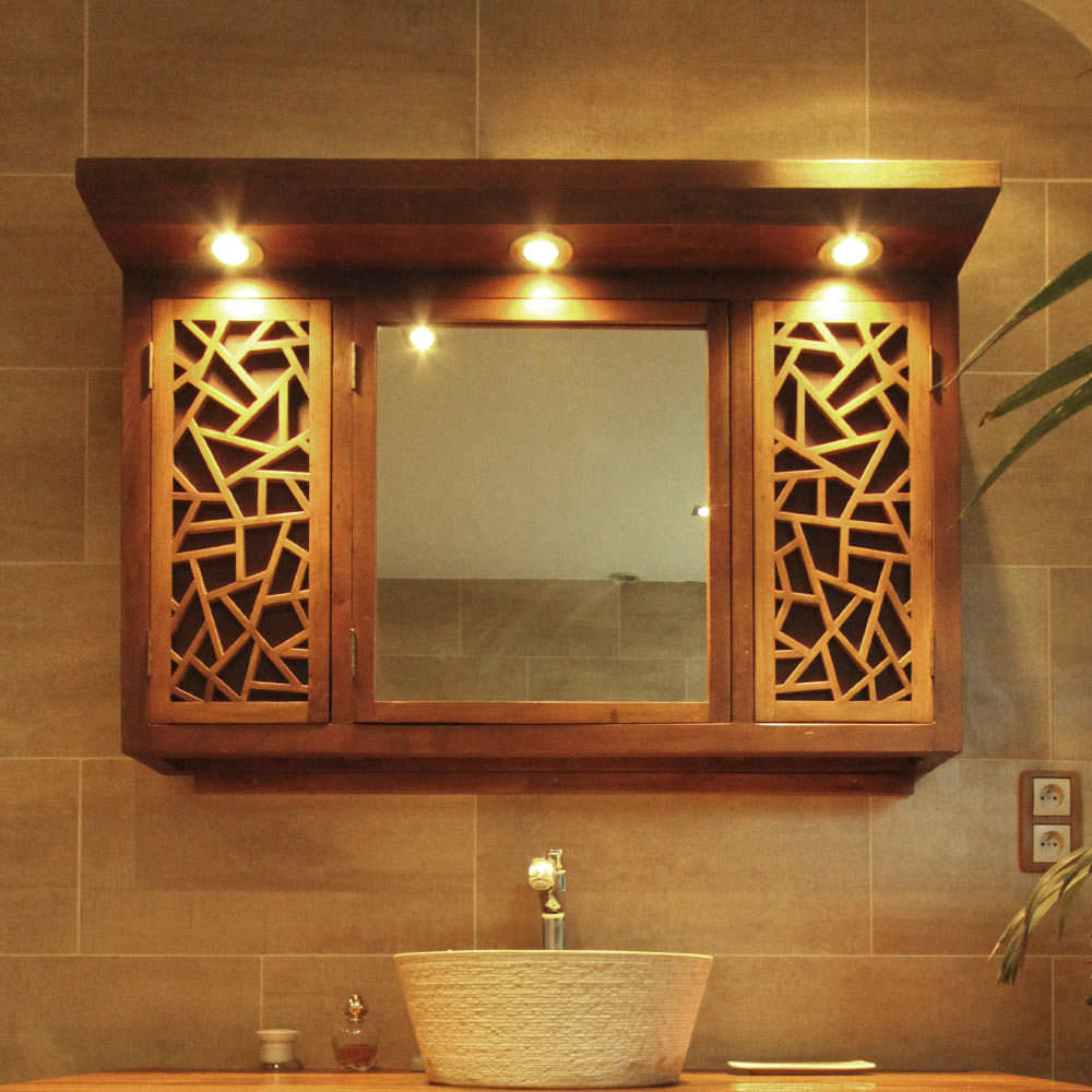 Salle De Bain Avec Bois miroir de salle de bain mural / avec rangement / contemporain / carré