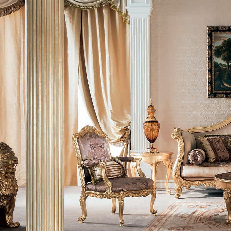 Fauteuil de style en tissu en bois massif couleur personnalisable 14524 Modenese Interiors Luxury Furniture