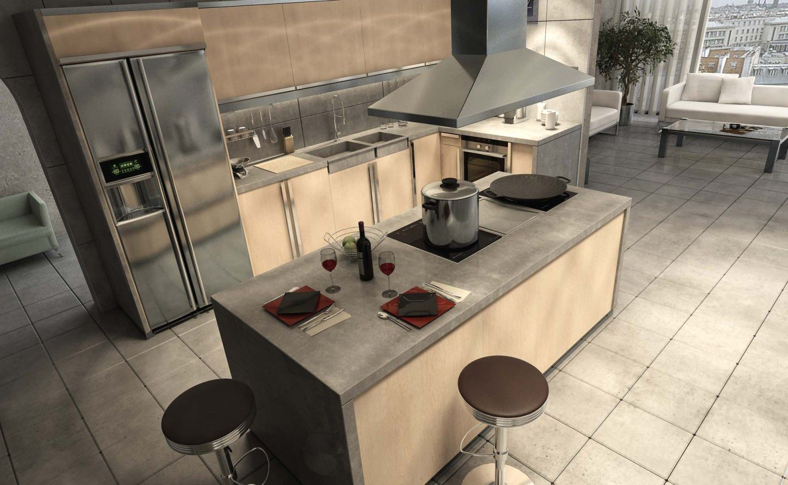 Ilot De Travail Cuisine Îlot de cuisine - joue - balian beton atelier