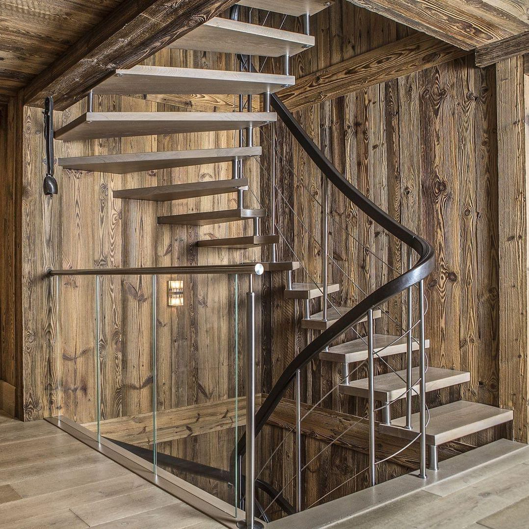 Ajouter Des Contre Marche Escalier escalier demi-tournant / structure en bois / marche en bois