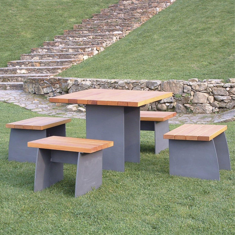 Ensemble table et bancs contemporain / en bois / en acier ...