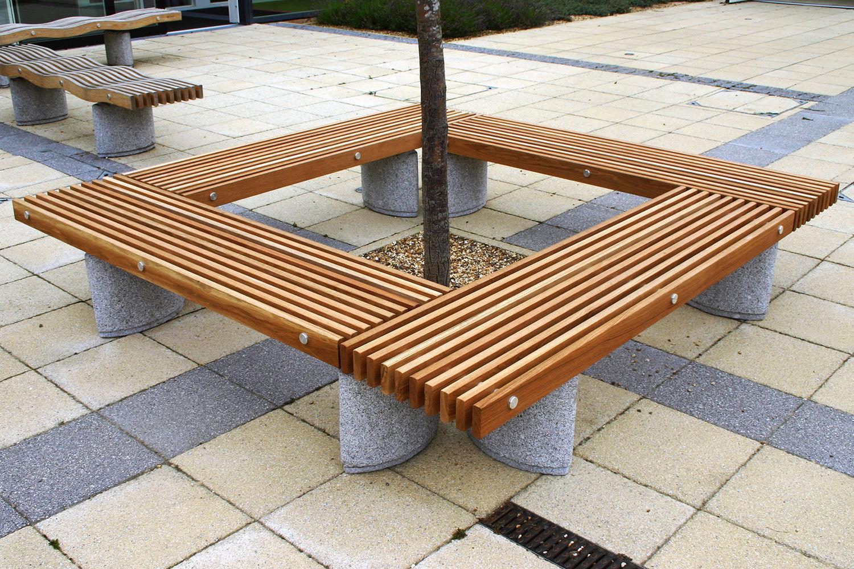 Corset d\'arbre en bois / avec banc public intégré - PINEWOOD ...