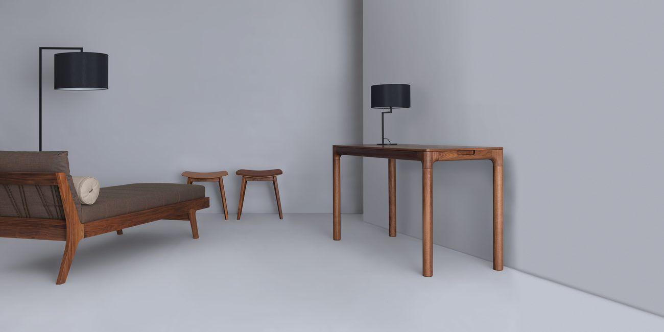 Méridienne contemporaine / en cuir / en bois massif / de salon ...