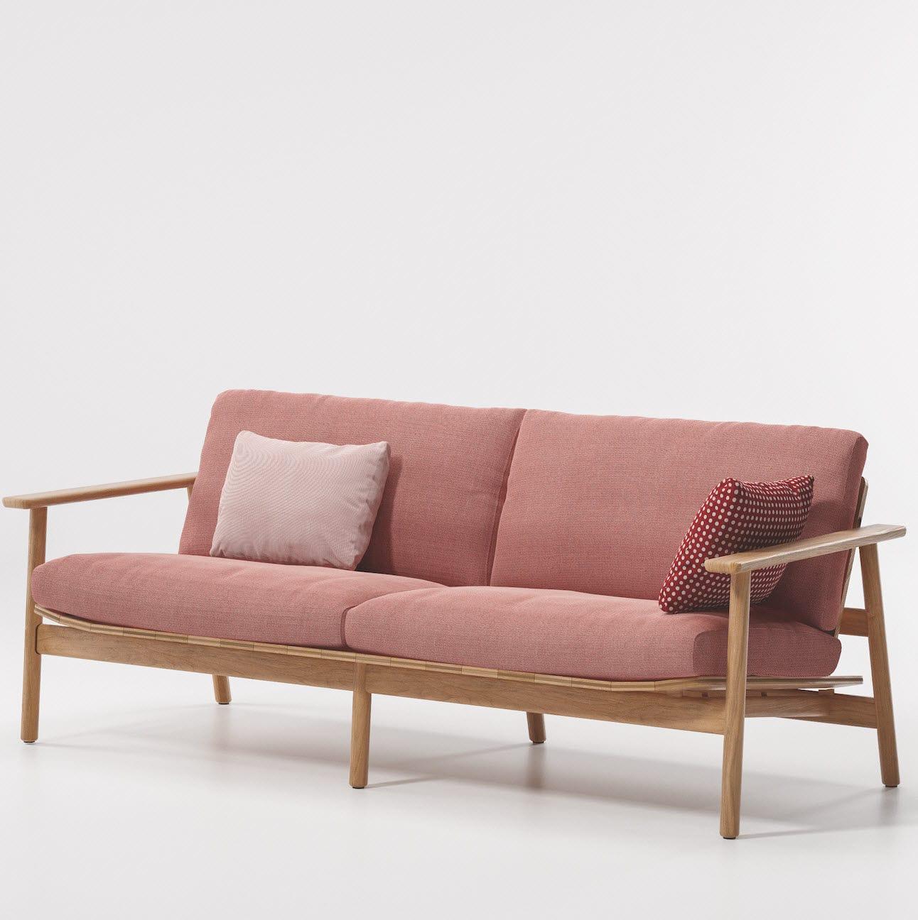 Canapé contemporain / de jardin / en tissu / en teck - RIVA ...