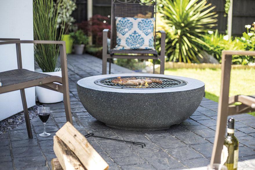 Brasero de jardin à bois / contemporain / avec barbecue ...