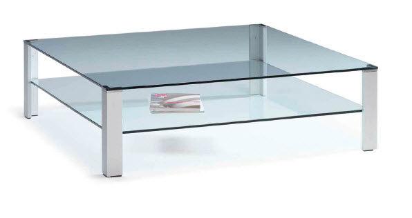 Table Basse Contemporaine En Verre Carree Aqua Double