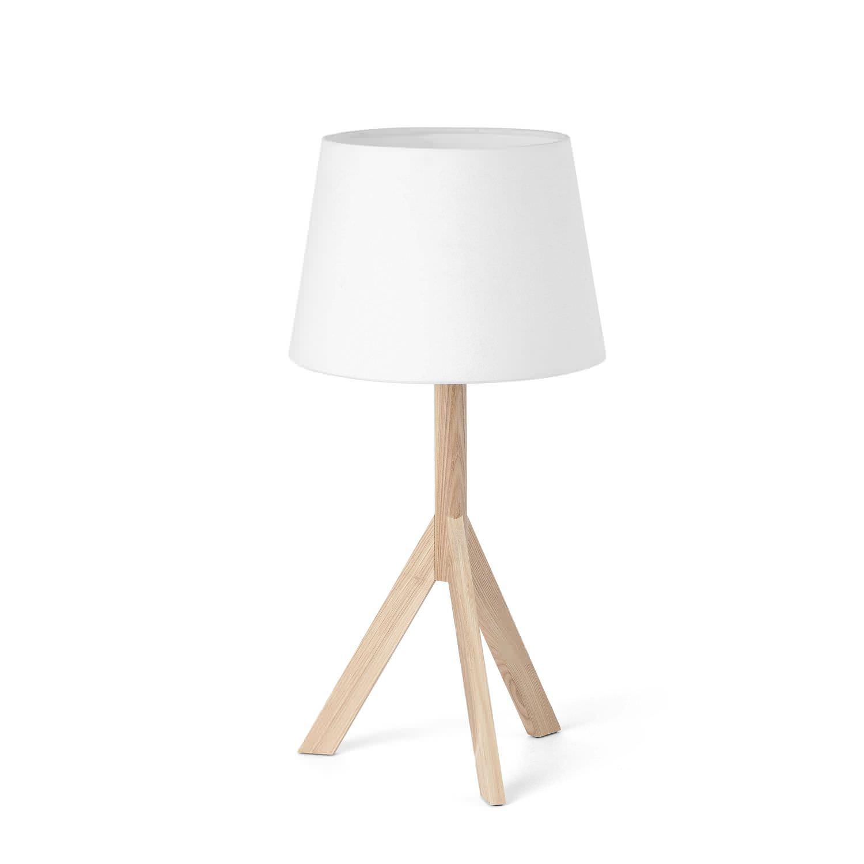 Lampe De Table Contemporaine En Tissu En Bois