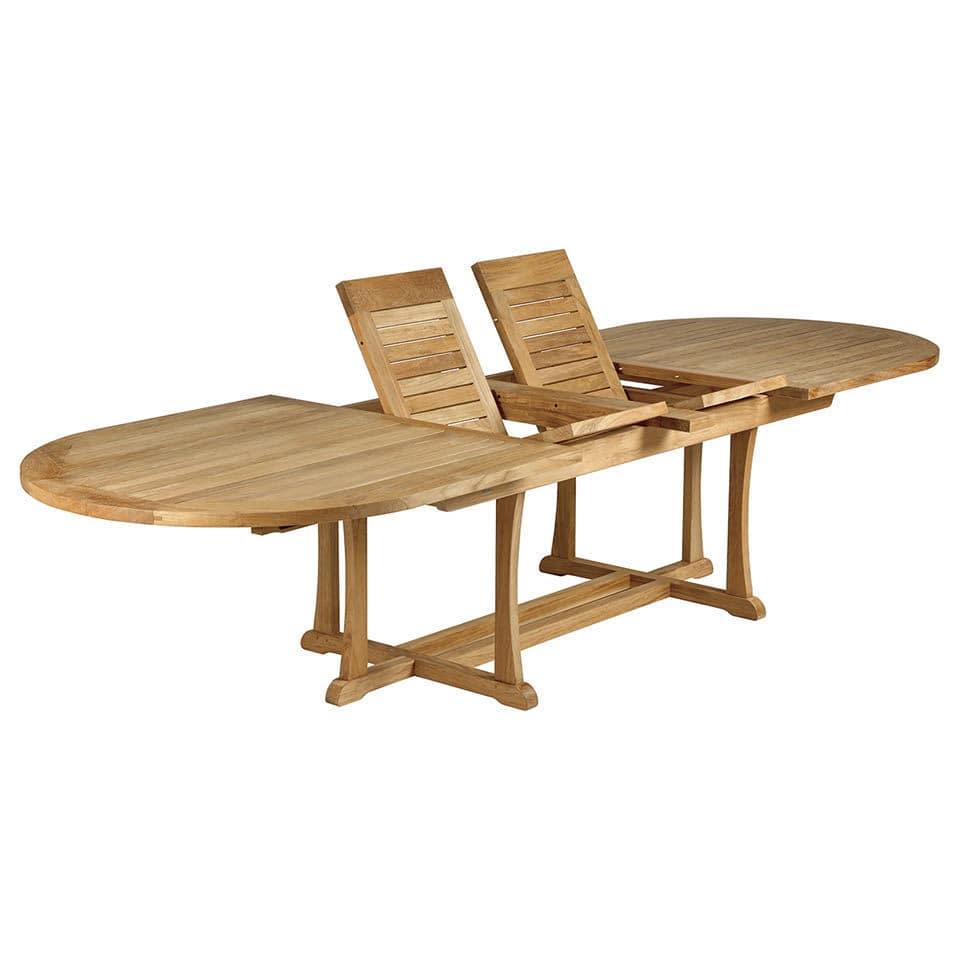 Table à manger classique / en teck / ovale / de jardin ...