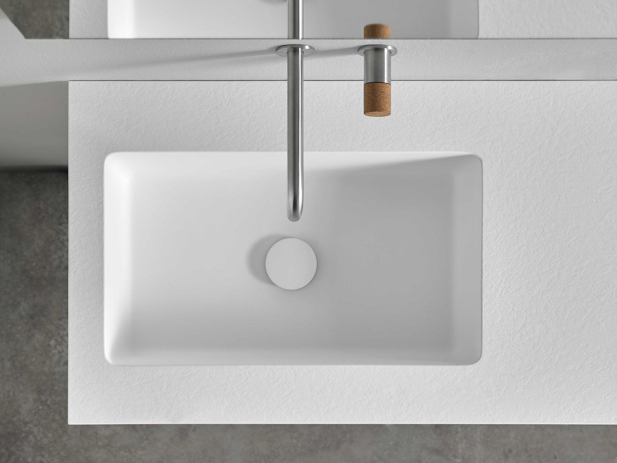 Plan Vasque Sur Mesure plan vasque en résine / sur mesure / avec porte-serviettes