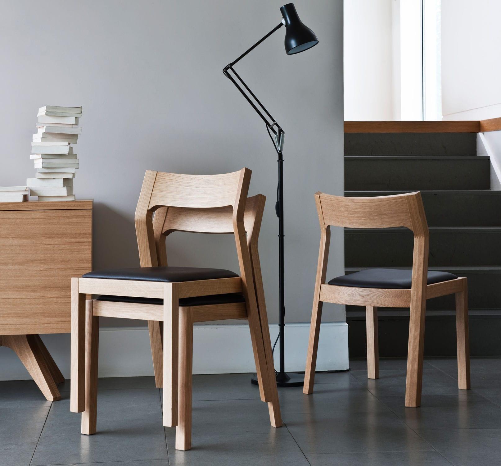 bois cuir Chaise contemporaine en empilable en 534ALRj