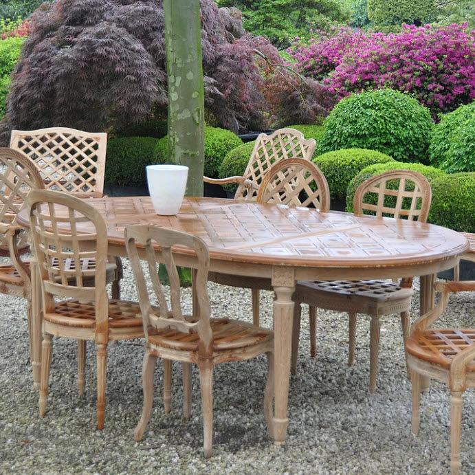 Table de style Louis XVI / en bois / ovale / de jardin - J ...