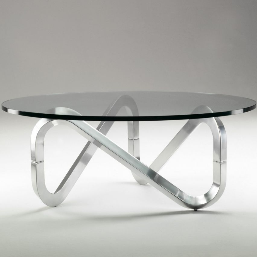 basse by verre en Table contemporaine brossé Bertram ronde by en aluminium Claus KubikoffArchiExpo LIBRA CoxeWdBQEr