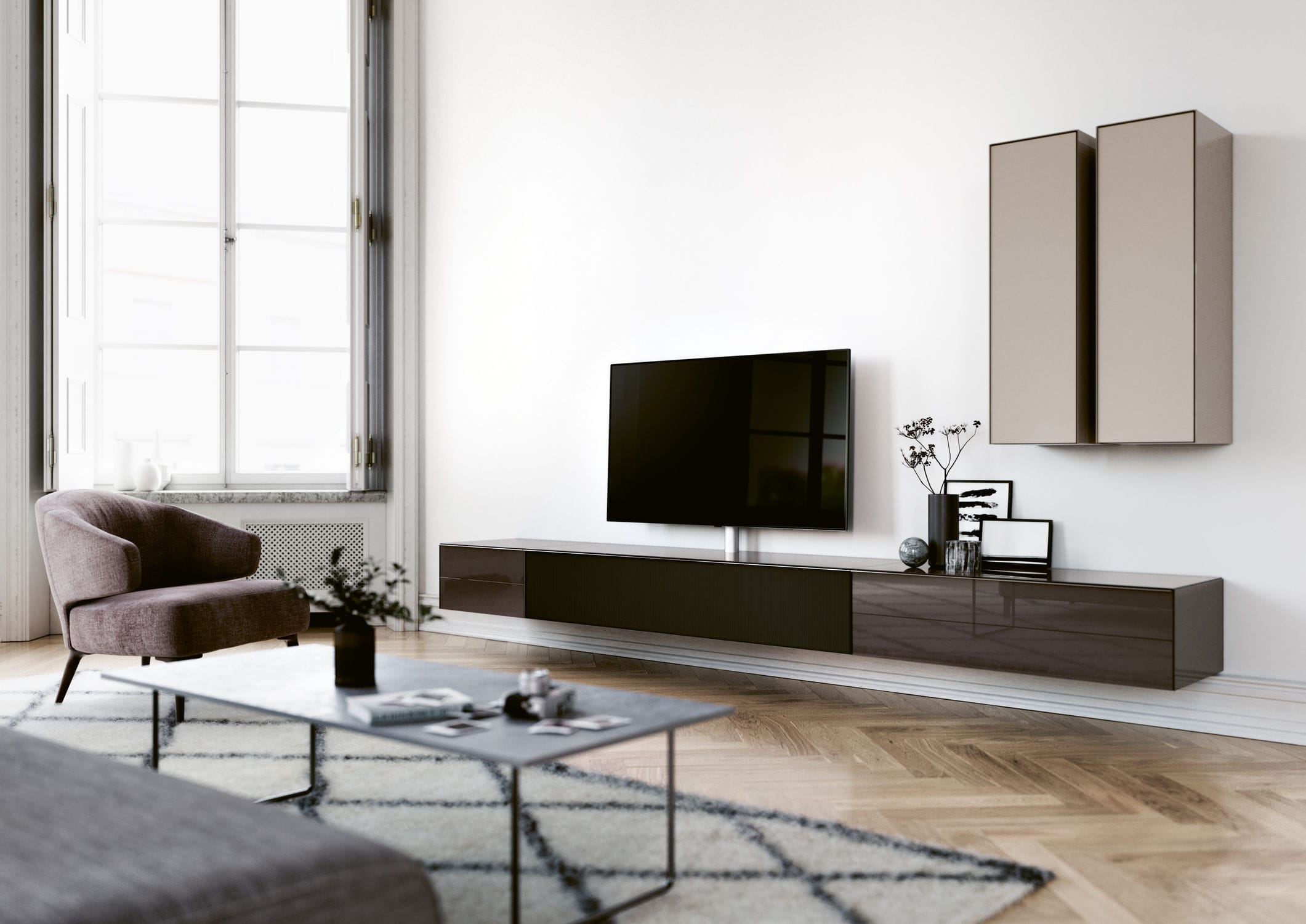 Meuble Tv Hifi Intégré meuble tv contemporain / avec station d'accueil hi-fi