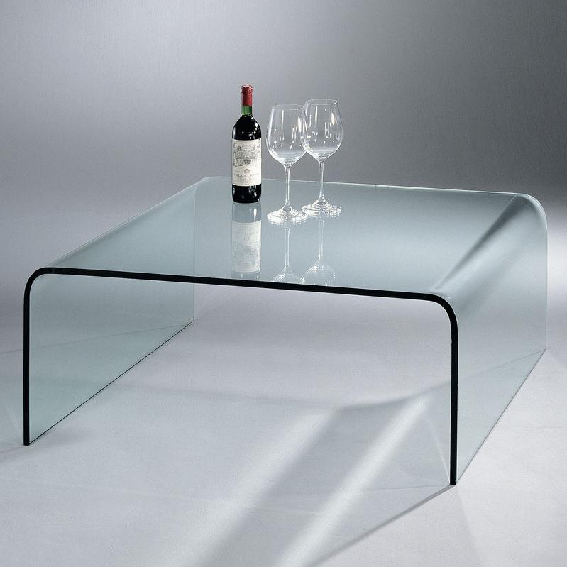 Table Basse Contemporaine En Verre Rectangulaire Courbée U