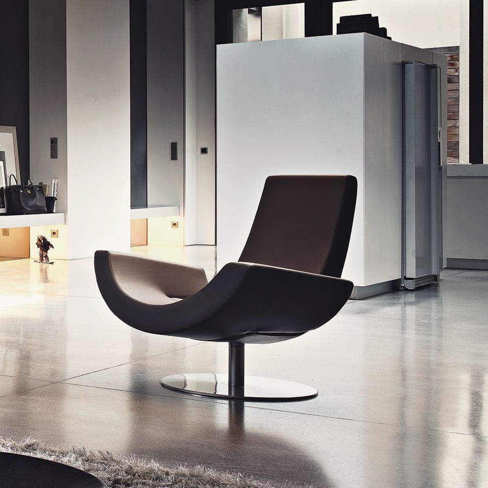 fauteuil contemporain / en métal / en polyuréthane / pivotant