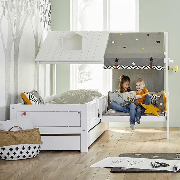 Chambre d\'enfant grise / blanche / verte / en bois laqué ...