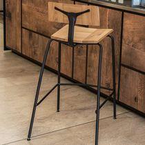 Tabouret de bar contemporain / en chêne / professionnel / avec repose-pieds