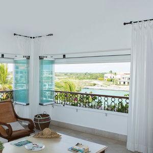 fenêtre coulissante-empilable / en aluminium / avec store intégré / sur mesure