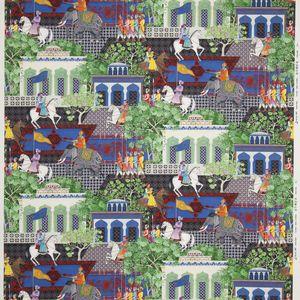 tissu d'ameublement / à motif scène / en coton