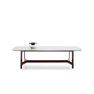 table contemporaine / en eucalyptus / en verre / en marbre