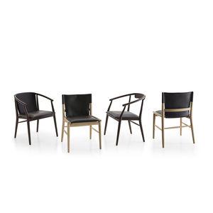 chaise contemporaine / avec accoudoirs / tapissée / en chêne