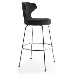 chaise de bar contemporaine / tapissée / en tissu / en acier