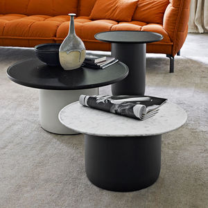 table d'appoint contemporaine / en marbre / en MDF / ronde
