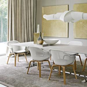 chaise contemporaine / tapissée / avec accoudoirs / en chêne